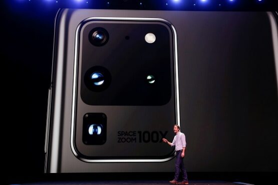 Pengenalan Samsung Galaxy S20, S20 + dan S20 Ultra di Unpacked 2020, San Francisco, California, Amerika Serikat 11 Februari 2020. (Reuters / Stephen Lam)