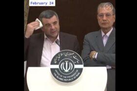 Wakil Menteri Kesehatan Iran Iraj Harirchi mengusap dahinya yang berkeringat saat berpidato 24 Februari 2020. (Youtube Quick Take by Bloomberg)