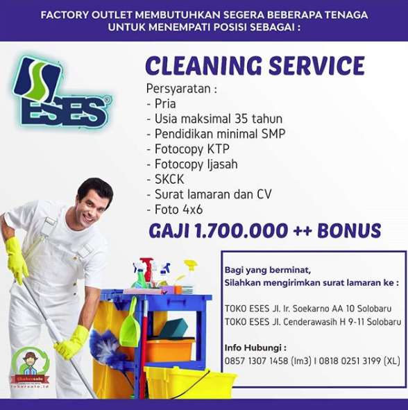 Loker Solo Cleaning Service Di Toko Eses