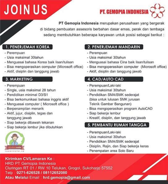 Loker Sukoharjo Di PT Gemopia Indonesia