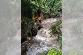 Sungai Sempor, lokasi insiden ratusan siswa SMPN 1 Turi, Sleman, hanyut saat susur sungai, Jumat (21/2/2020). (Istimewa)