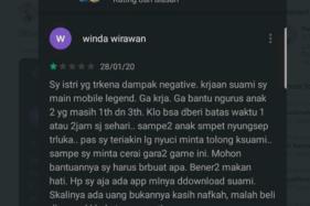 Curhatan seorang istri di review Mobil Legends di Play Store (Twitter/@TretanMuslim).