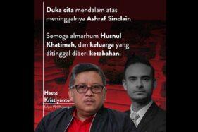 Poster ucapan duka cita dari Hasto Kristiyanto untuk Ashraf Sinclair. (Twitter/@66Hasto)