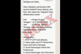 Beredar Pesan Berantai Urus SIM Tanpa Tes di Samsat, Satlantas Karanganyar: Itu Hoaks!