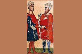 Lukisan yang menggambarkan Frederick II (kiri) bertemu Al-Kamil (kanan). (Wikipedia.org)