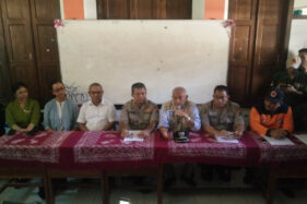 Konferensi pers di SMPN 1 Turi, Sabtu (22/2/2020), pascatragedi Sungai Sempor, Jumat (21/2/2020). (Harian Jogja-Abdul Hamid Razak)