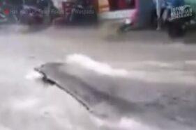 Aspal Njepat Gara-Gara Hujan Deras di Semarang