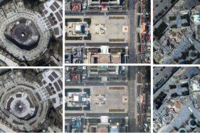 Foto sejumlah kota sebelum dan sesudah terdampak virus corona. (Istimewa)