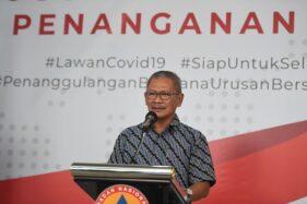 Juru bicara pemerintah untuk penanganan Covid-19 Achmad Yurianto saat jumpa pers. (Antara/Akbar Nugroho Gumay)