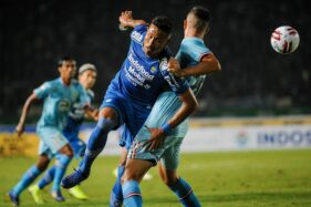 Pemain Persib Bandung Wander Luiz (kiri) berusaha melewati pemain Persela Lamongan Jasmin Mecinovic (kanan). (Antara/Raisan Al Farisi)
