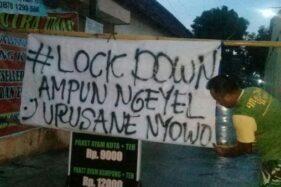 Desa di cawas, Klaten memasag larangan masuk sebagai bentuk lockdown, Sabtu (28/3/2020). (Istimewa/Serma Agus Setya Hartono)
