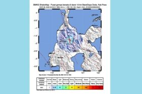 Pusat gempa Sulawesi Tengah (Sulteng) di dekat Kabupaten Sigi, Sabtu (28/3/2020) malam. (Twitter @bmkg)