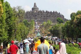 Pengunjung Candi Borobudur sebelum pandemi Covid-19. (ANTARA/Heru Suyitno)