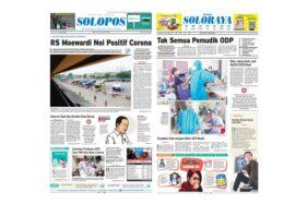 Harian Umum Solopos edisi Selasa (31/3/2020) dengan headline sembuhnya para pasien positif corona di RS dr Moewardi Solo