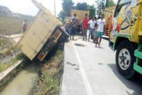 Kecelakaan Truk Terguling Sragen Bikin Lalu Lintas di Jl. Ring Road Utara Tersendat