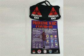 Penampakan masker scuba dan selebaran antisipasi Covid-19 dari Predator MMA. (Istimewa)