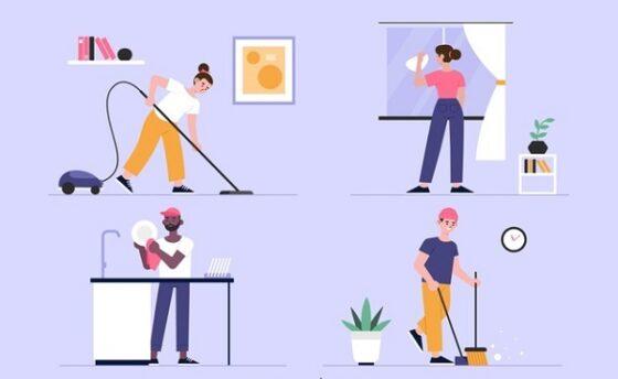 Ilustrasi bersih-bersih rumah. (Freepik)