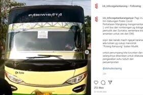 Pajang Tulisan Pulang Kampung Bukan Mudik, Bus dari Sumatra Nekat Masuk Semarang