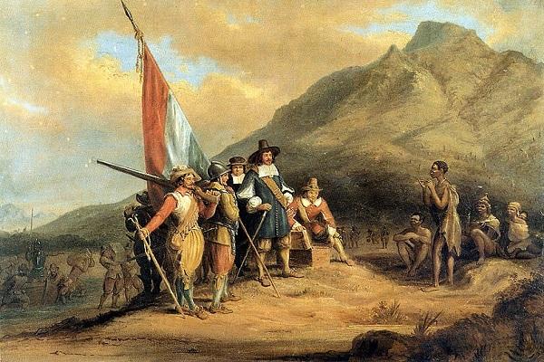 Lukisan karya Charles Davidson Bell bertajuk Kedatangan Jan van Riebeeck di Tanjung Harapan, (Wikipedia.org)