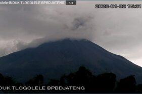 Penampakan Gunung Merapi saat meletus, Kamis (2/4/2020) dari Selo, Boyolali. (Istimewa)