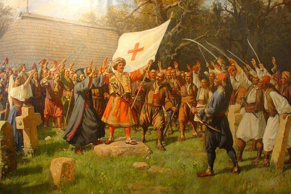 Lukisan berjudul Pemberontakan Takovo karya Paja Jovanovic, 1889, menggambarkan salah satu peristiwa pemberontakan orang Serbia, 1815. (Wikipedia.org)