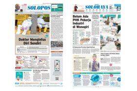 Harian Umum Solopos edisi Kamis (9/4/2020) dengan headline kisah dokter yang menginfus diri sendiri.