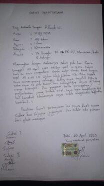 surat pernyataan mujiyem soal perampokan baki sukoharjo