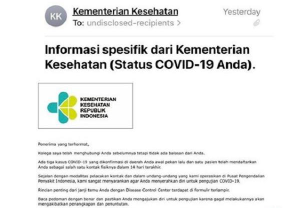 Email dari Kemenkes terkait pemeriksaan Covid-19 (Instagram/@kemenkes_ri).