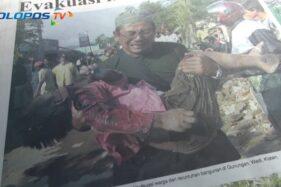 Slamet, membopong jenazah sang anak, Rio yang meninggal akibat gempa bumi Jogja - Klaten (Youtube/SoloposTV).