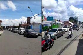 Jalan menuju daerah wisata Tawangmangu, Karanganyar, dipadati kendaraan pengunjung pada H+1 Lebaran, Minggu (25/5/2020). (Istimewa)