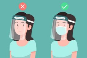 Ilustrasi pemakaian face shield. (Freepik)