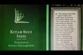 Aplikasi Injil Bahasa Minang Dihapus, Gubernur Sumbar Dinilai Tolak Kemajemukan