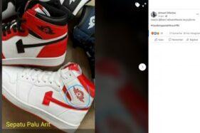 Sepatu sneakers berlogo PKI yang diklaim dijual di Jakarta. (Istimewa)