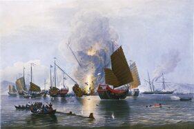Pertempuran Chuenpee Kedua, 7 Januari 1841, antara Inggris dan China dalam Perang Opium I. (Wikipedia.org)
