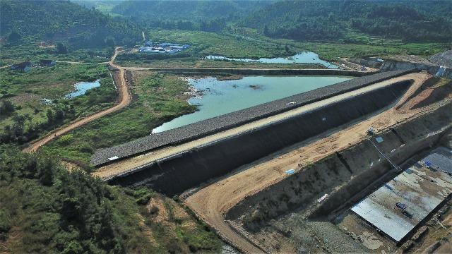 Progres pembangunan Waduk Pidekso Wonogiri pada tahap kedua. (Istimewa-dok PT Pembangunan Perumahan)