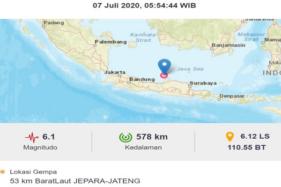 Gempa Jepara Selasa (7/7/2020).