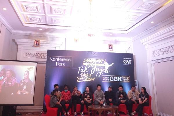 Jumpa pers konser 30 tahun Didi Kempot berkarya dengan tajuk Ambyar Tak Jogeti di stadion utama Gelora Bung Karno (GBK) November mendatang. Jumpa pers bersama para pengisi konser ini diadakan di Ramada Hotel, Colomadu, Karanganyar, Kamis (9/7/2020) malam. (Ika Yuniati/Solopos)