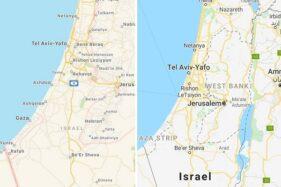 Tak ada Palestina di Google Maps. (Istimewa)