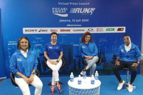 Marketing Director PT Amerta Indah Otsuka, Puspita Winawati (kedua dari kiri) didampingi pelari nasional, Agus Prayogo (kanan) serta artis Melani Putria (kiri) dan Sahila Hisyam dalam jumpa pers virtual Pocari Sweat Run Virtual 2020, Senin (13/7/2020). (Istimewa)