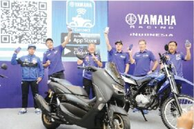 Launching Aplikasi Y-Connect All New Nmax 155 Connected ABS Bersama Maverick Vinales dan Valentino Rossi. (Istimewa)