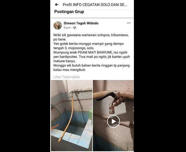 Ngithir! Warga Mojosongo Solo Curhat Aliran PDAM Kalah Deras Dengan Air Kencing