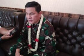 Komandan Korem 074/Warastratama, Kolonel Inf. Rano Tilaar, saat berkunjung ke Kodim 0724/ Boyolali, Senin (13/7/2020). (Solopos-Bayu Jatmiko Adi)