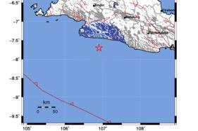 Peta guncangan gempa bumi Sukabumi, Jawa Barat, Kamis (2/7/2020). BMKG