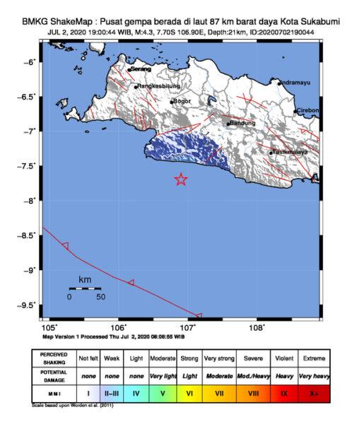 Gempa Magnitudo 4,3 Guncang Sukabumi