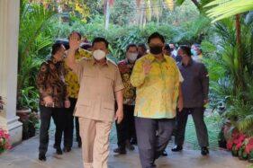 Ketum Golkar Airlangga Hartarto saat bertemu Ketum Gerindra Prabowo Subianto (Foto: Dwi Andayani-detikcom)