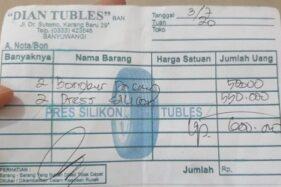 Nota tambal ban viral di Banyuwangi seharga Rp600.000. (Detik.com)