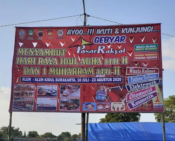 Tak Hanya Pemkot Solo, Spanduk Pasar Rakyat Alkid Juga Cantumkan Logo Kepolisian Dan TNI