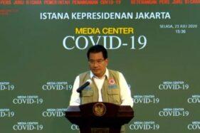 Juru Bicara Satgas Penanganan Covid-19 Wiku Adisasmito dalam konferensi pers update Covid-19 di Jakarta, Selasa (21/7/2020) (Bisnis-Youtube Setpres)