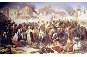 Lukisan berjudul Taking of Jerusalem by the Crusaders, 15th July 1099, karya Emile Signol, 1847. (Wikipedia.org)