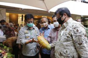 Menteri Pertanian (Mentan) Syahrul Yasin Limpo (kiri) saat menghadiri Launching Gelar Buah Nusantara (GBN) ke-5 di Jakarta, Senin (10/8/2020).